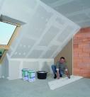 Auch vor die Giebelwand kann eine Gipsbauplatte gesetzt werden. Foto: Saint-Gobain Rigips GmbH