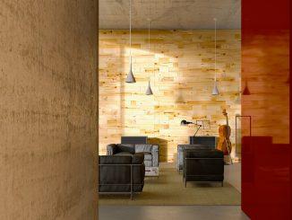 Die Modulholzwand sorgt für eine besondere Atmosphäre. Foto: Craftwand